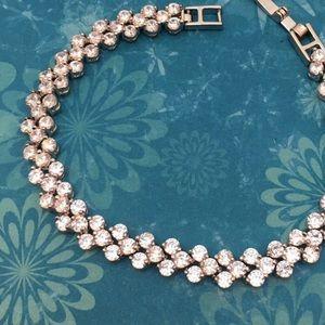 Jewelry - CZ Inlaid White Gold Tennis Style Bracelet